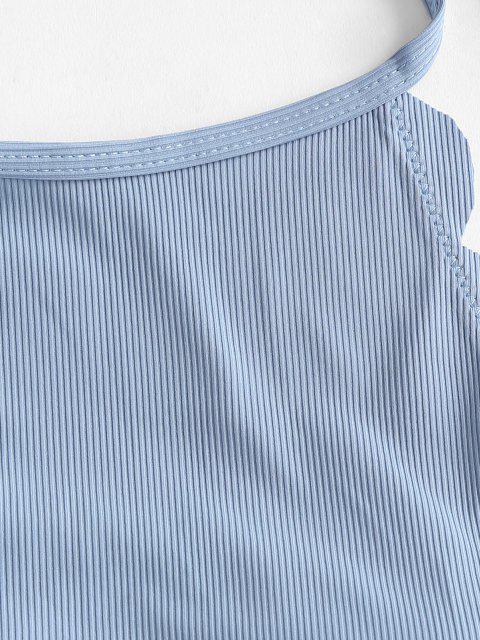 ZAFUL Überbackene Gerippte Halfter Tankini Badebekleidung - Hellblau S Mobile