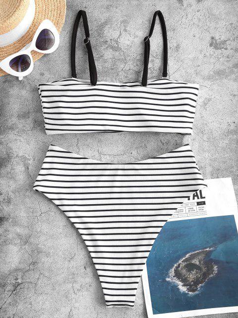 Costume da Bagno Bikini a Fascia a Costine a Righe a Gamba Alta di ZAFUL - Nero M Mobile