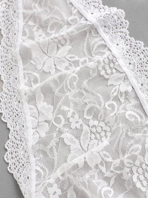buy Lace See Thru Open Back Halter Tie Teddy - WHITE ONE SIZE Mobile