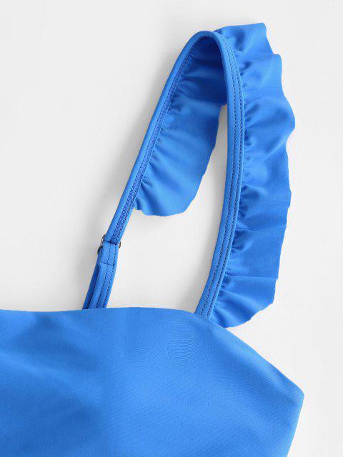 fashion ZAFUL Frilled Trim High Leg Bikini Swimwear - BLUE L Mobile