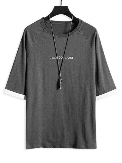 Letter Print Cuffed Sleeve Casual T-shirt - Gray 2xl
