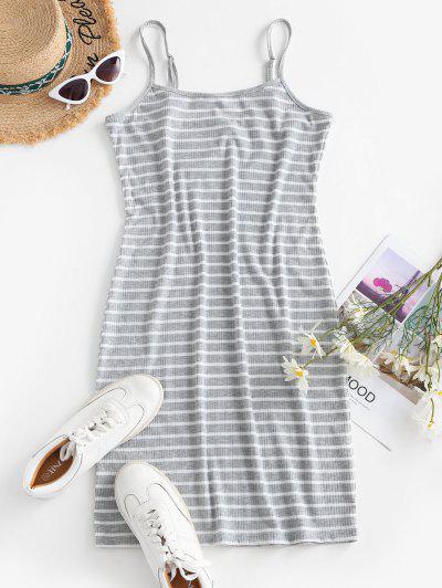 Striped Ribbed Bodycon Cami Dress - Light Gray L