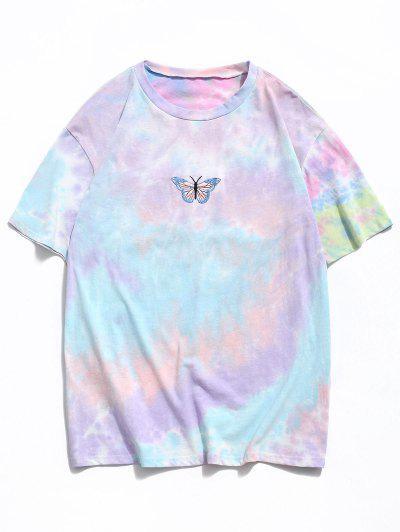 Embroidery Butterfly Pattern Tie Dye T-shirt - Light Pink M