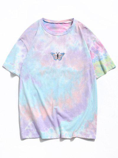 Embroidery Butterfly Pattern Tie Dye T-shirt - Light Pink L