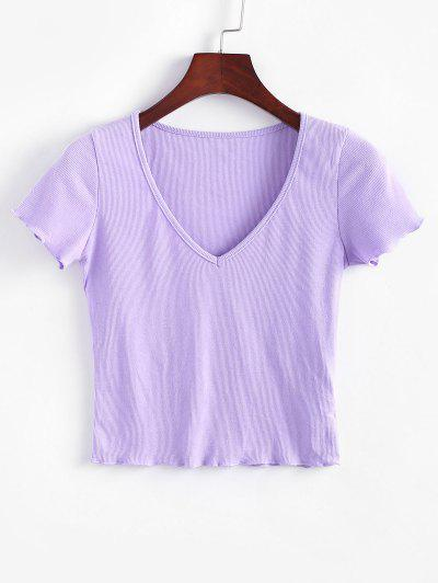 Solid V Neck Ribbed Tee - Purple S