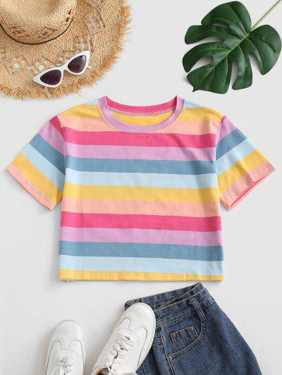 Cropped Colorful Stripes Tee - Multi-a S