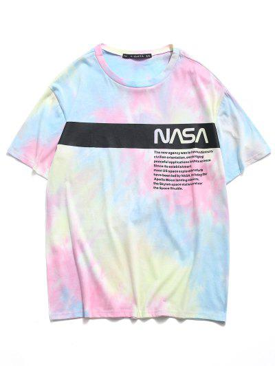 Letter Tie Dye Print Short Sleeve T-shirt - Light Blue L
