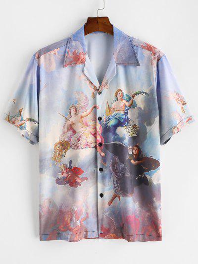 Button Up Allover Renaissance Art Print Shirt - Light Blue M