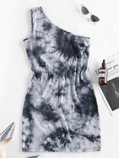 Tie Dye One Shoulder Bodycon Dress - Black L