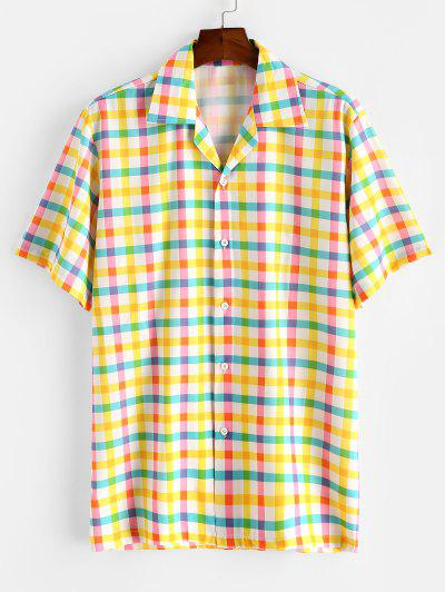 Colorful Gingham Print Camp Collar Shirt - Corn Yellow M