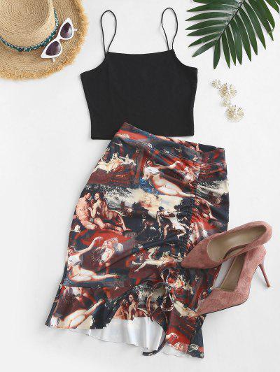 Cinched Renaissance Print Mermaid Skirt Set - Black L