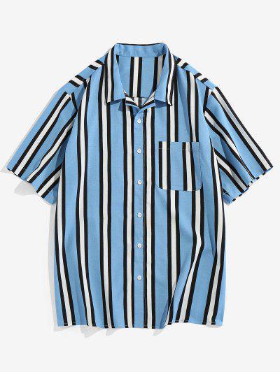 Vertical Striped Pocket Button Up Shirt - Light Blue 2xl