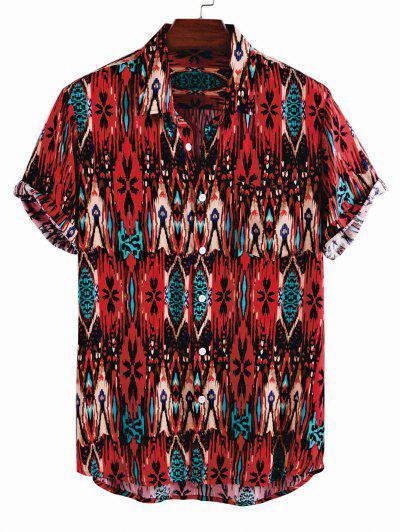 Camisa Con Botón Y Bolsillo En Pecho - Rojo M
