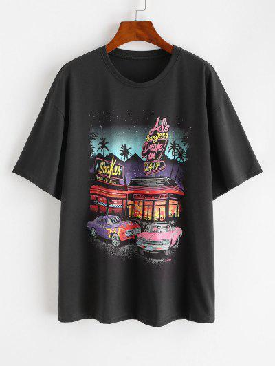 T-Shirt A Tunica Stampata Lettere Con Spalle Scivolate - Grigio