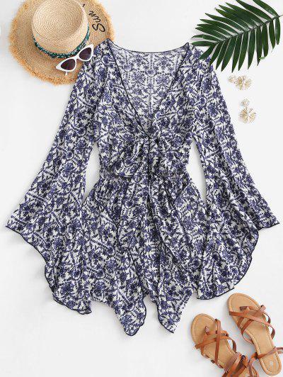 Flower Print Flare Sleeve Tie Front Romper - Blue L