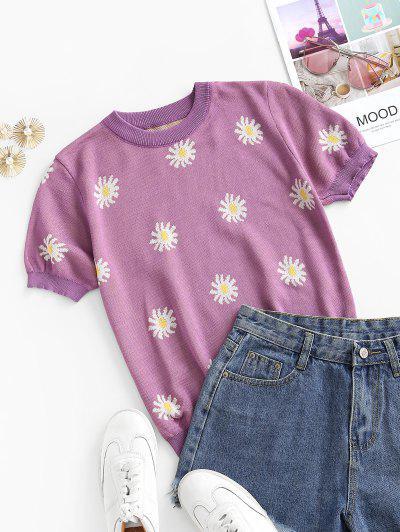 Crew Neck Short Sleeve Daisy Floral Knitwear - Light Purple