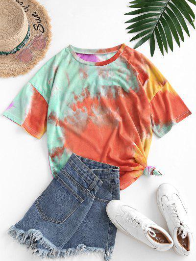 Camiseta De Tie-dye Con Hombro Caído - Naranja M