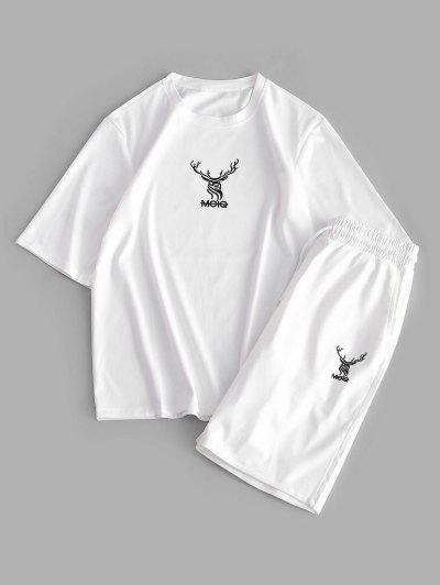 Elk Letter Print T-shirt And Sweat Shorts Set - White Xs