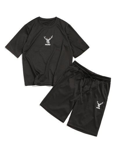 Elk Letter Print T-shirt And Sweat Shorts Set - Black Xl