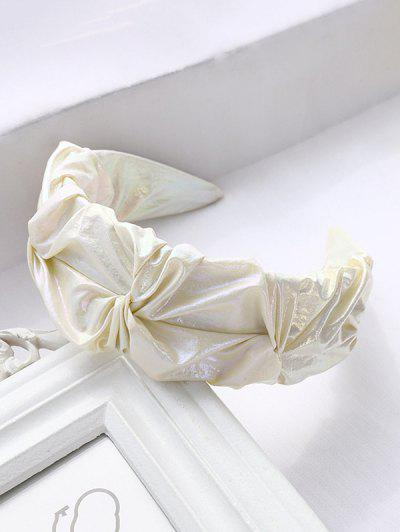 Crepe Lustrous Fabric Wide Hairband - White