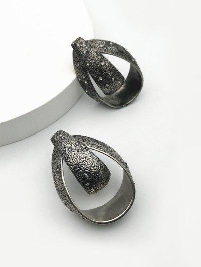 Antique Water Drop Rhinestone Stud Earrings - Gunmetal