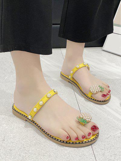 Toe Loop Pineapple Faux Pearl Slides Sandals - Yellow Eu 40