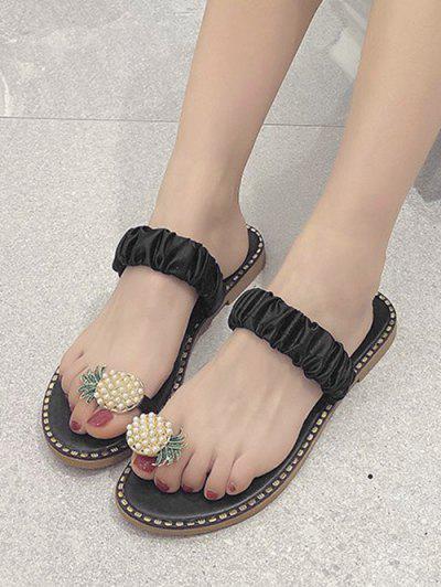 Pineapple Toe Ring Flat Slides - Black Eu 40