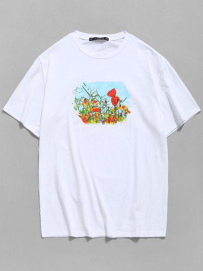 Flower Field Print Round Neck T-shirt - White Xl
