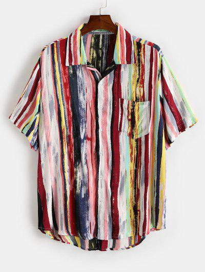 Colorful Striped Print Curved Hem Pocket Shirt - Deep Red L