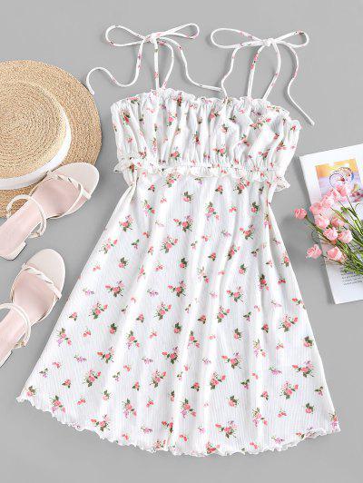 ZAFUL Ditsy Print Flounce Nightgown - White S