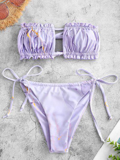 ZAFUL Tie Back Marble Print Bandeau Bikini Swimwear - Light Purple M