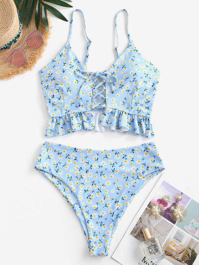 ZAFUL Ditsy Floral Lace Up High Cut Tankini Swimwear - Light Blue S