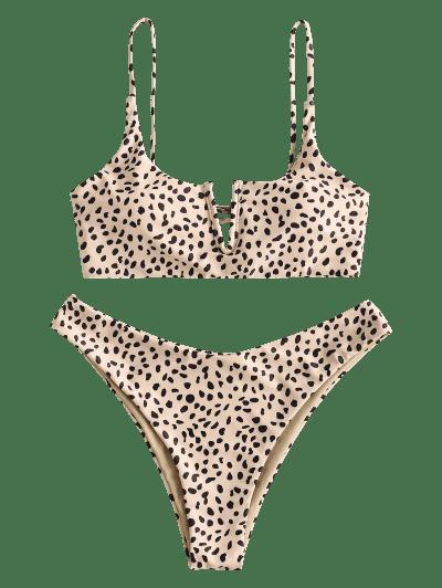 ZAFUL Animal Print V-notch Reversible Bikini Set
