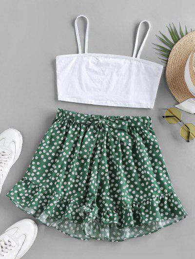 ZAFUL Ditsy Print Ruffle Bowknot Wide Leg Shorts Set - Light Green M