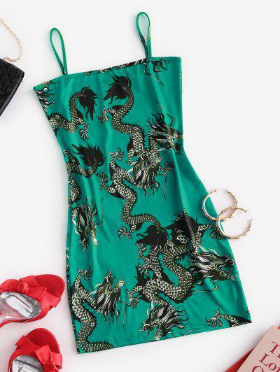 Dragon Print Oriental Cami Mini Dress - Light Sea Green M