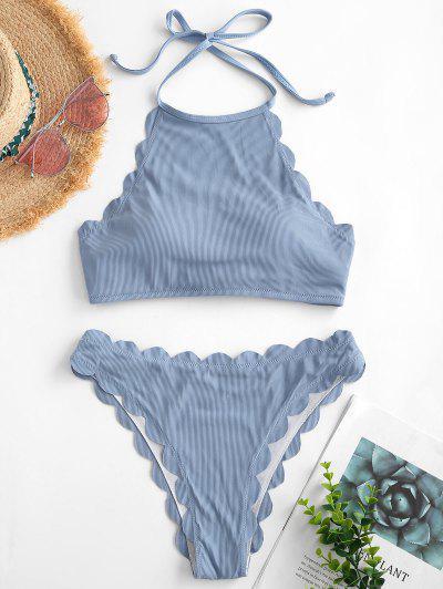 ZAFUL Scalloped Ribbed Halter Tankini Swimwear - Light Blue 2xl