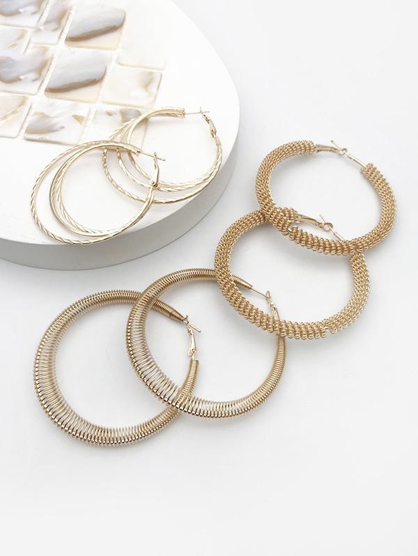 3Pairs Helical Hoop Earrings Set