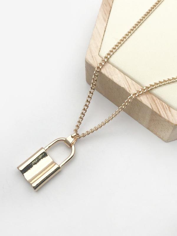 Alloy Lock Punk Pendant Necklace