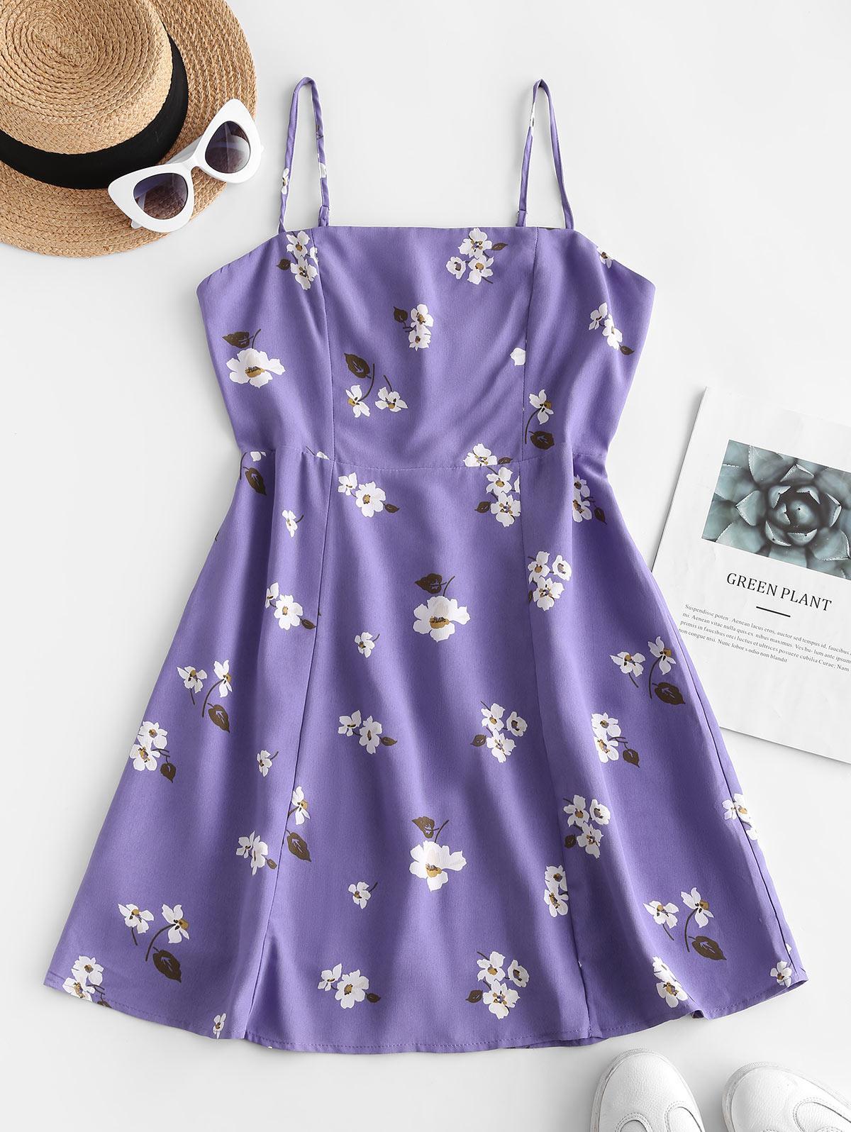 Zaful Floral Shirred Cami Dress