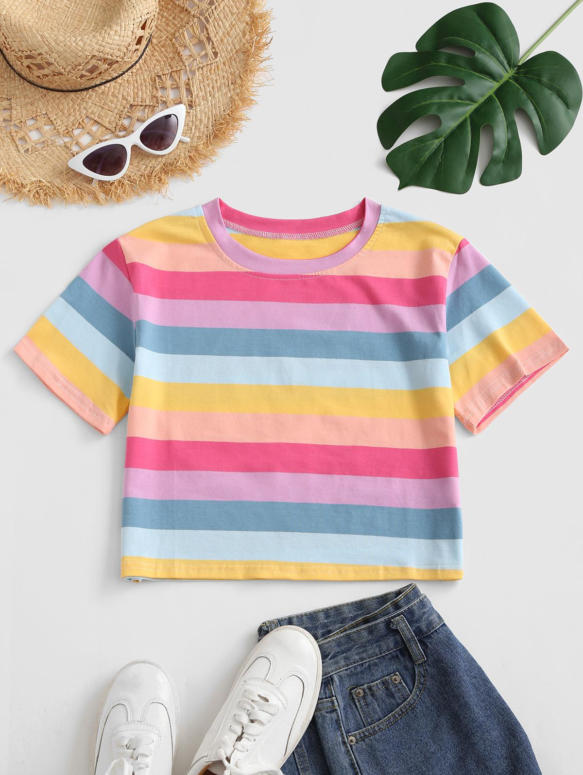 Cropped Colorful Stripes Tee