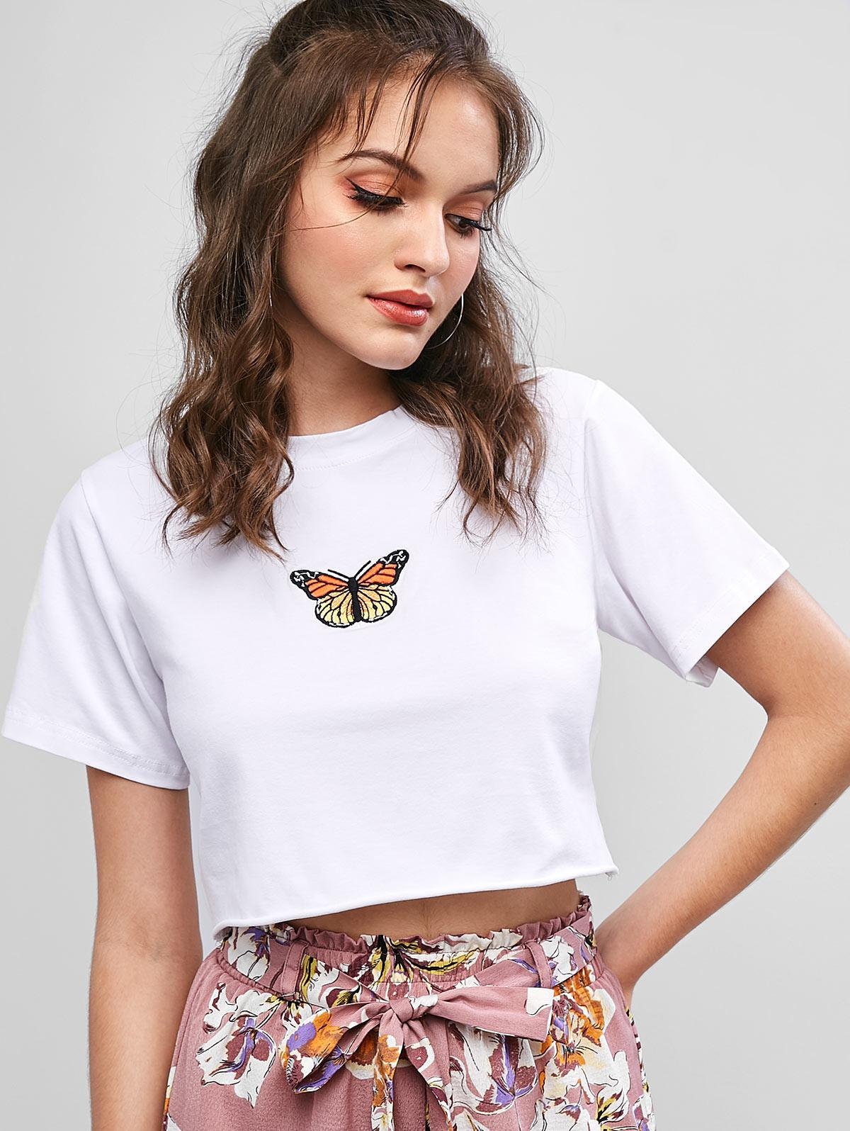 Raw Hem Butterfly Embroidered Cropped Tee