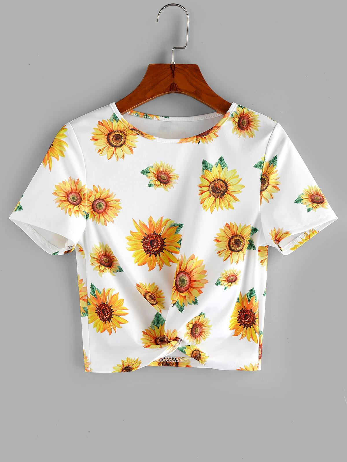 ZAFUL Sunflower Print  Front Twist Cropped T Shirt