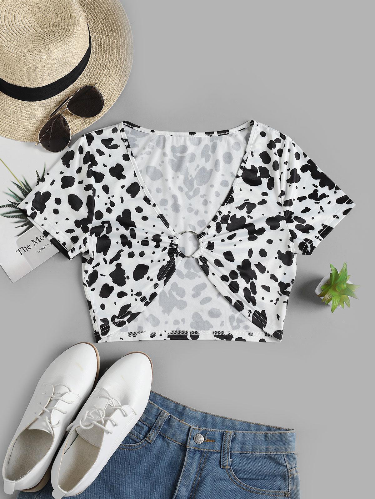 ZAFUL Dalmatian Print O-ring Crop Tee