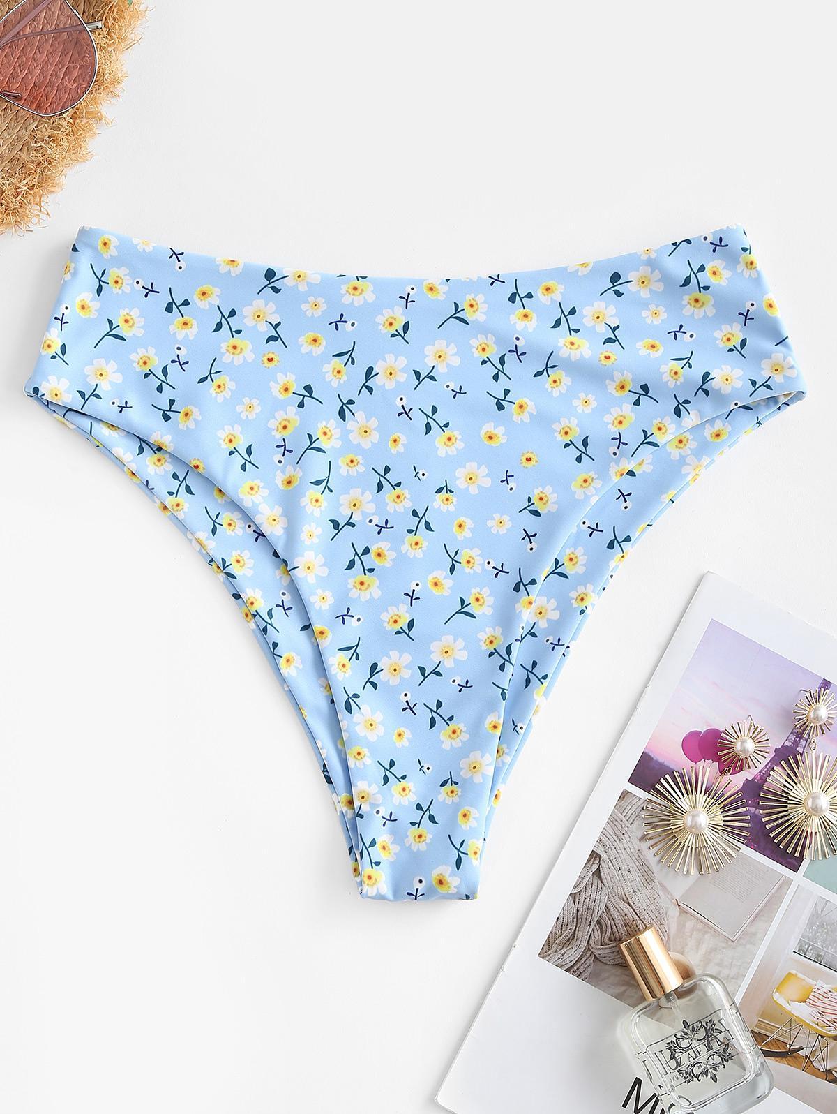 ZAFUL High Waisted Ditsy Floral High Cut Bikini Bottom