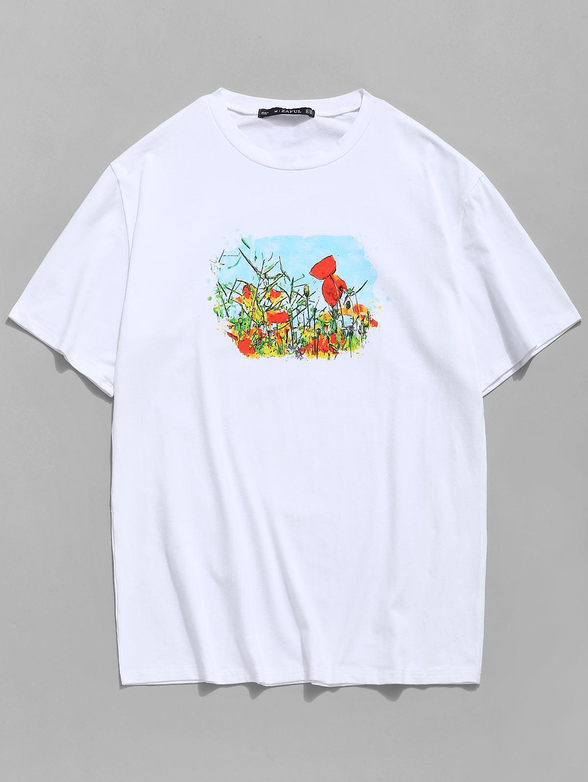 T-shirt Champ de Fleur Imprimé à Col Rond - ZAFUL - Modalova