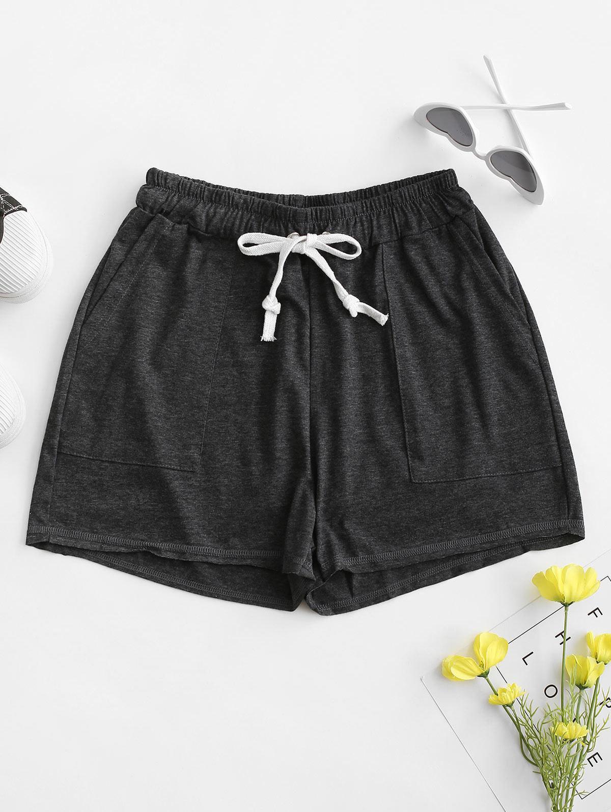 Drawstring Marled Pull On Shorts