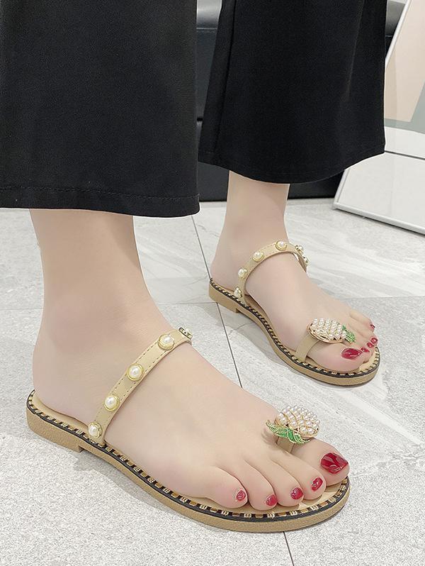 Toe Loop Pineapple Faux Pearl Slides Sandals