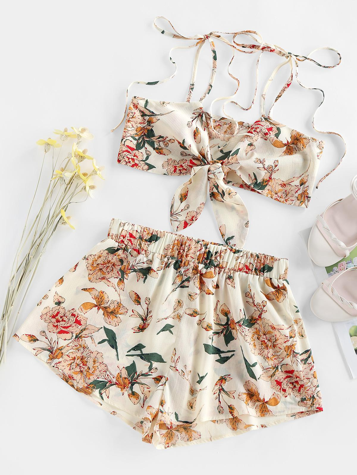 ZAFUL Floral Print Tie Front Co Ord Set