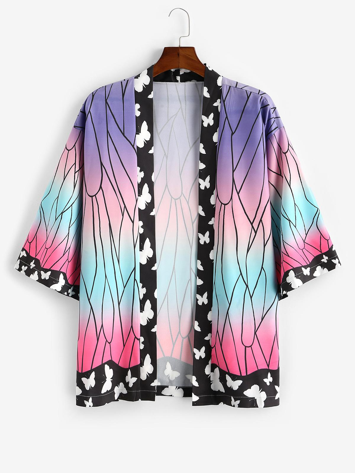 Ombre Butterfly Print Open Front Kimono Cardigan