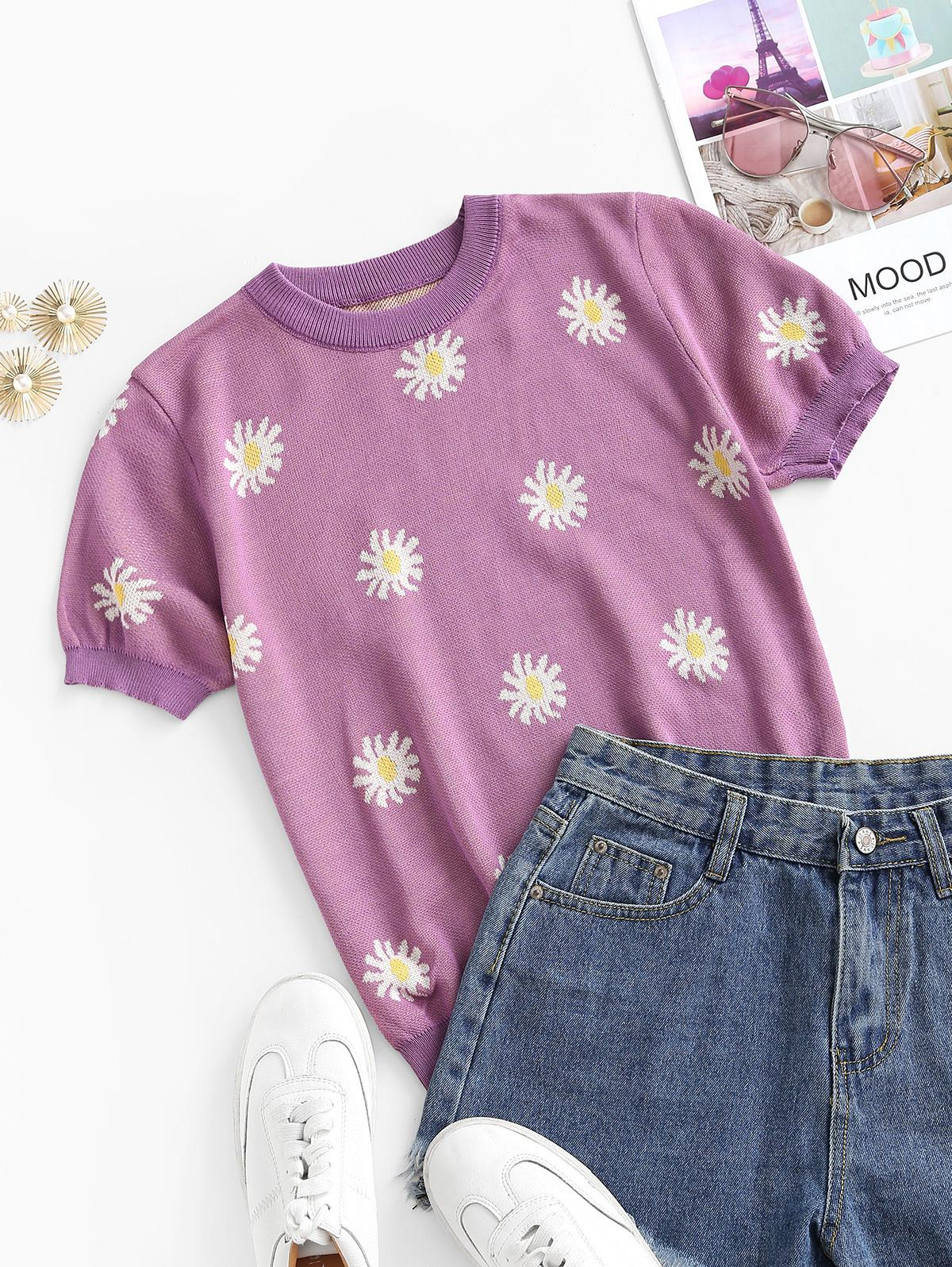 Crew Neck Short Sleeve Daisy Floral Knitwear